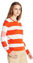 Lacoste Women's Long Sleeve Bold Stripe Cotton Crew Neck Sweater