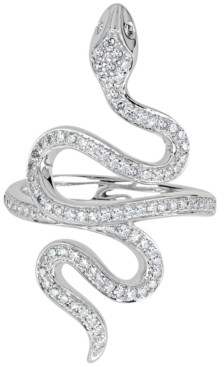 Macy's Diamond Pave Snake Ring (1/2 ct. t.w.) in 14k White Gold
