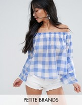 New Look Petite Gingham Ruffle Tiered Top