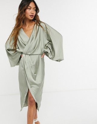 ASOS DESIGN blouson sleeve satin shirt dress with open back in olive