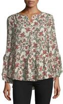 Max Studio Long-Sleeve Floral High-Low Blouse