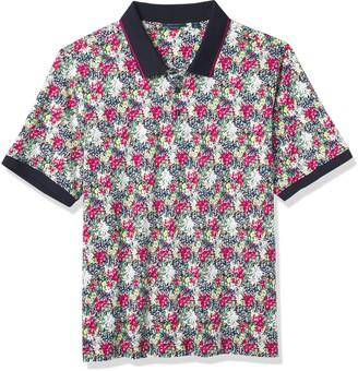 Perry Ellis Men's Big & Tall Floral Print Short Sleeve Polo Shirt