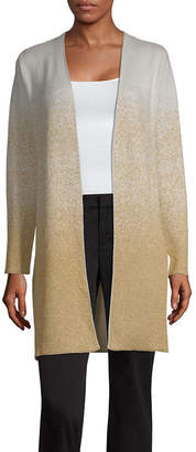 Liz Claiborne Womens Long Sleeve Open Front Ombre Cardigan
