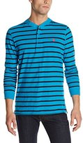 U.S. Polo Assn. Men's Slim Fit Striped Pocket Polo Shirt with Solid Yoke