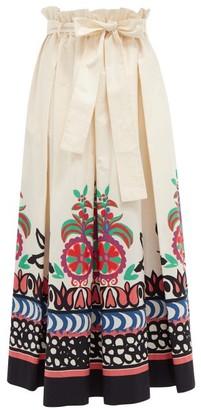 La DoubleJ Sardegna Calata-print Cotton-poplin Midi Skirt - Cream Multi
