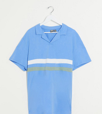 ASOS DESIGN Plus polo shirt with revere collar and chest stripes in blue