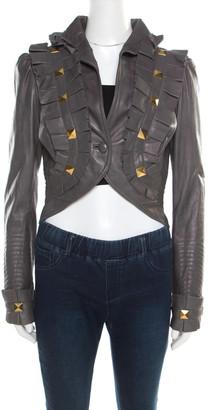 Temperley London Grey Leather Ruffle Trim Rock Stud Embellished Cropped Jacket M