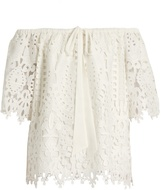 Temperley London Berry lace off-the-shoulder top