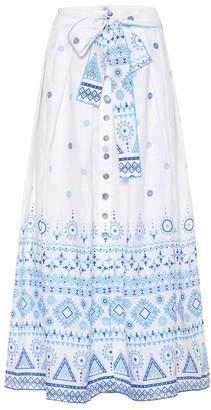 Gã1⁄4l Hã1⁄4rgel Printed linen midi skirt