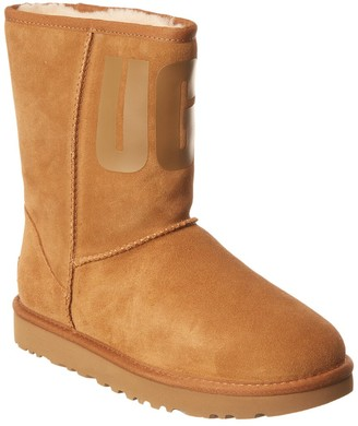 UGG Classic Short Rubber Logo Suede Boot