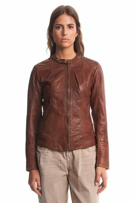 Salsa Leather Jacket Beige