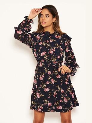 AX Paris Chiffon Floral Day Dress - Navy