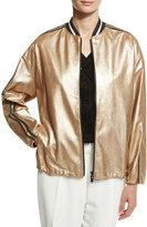 Brunello Cucinelli Metallic Leather Bomber Jacket, Gold