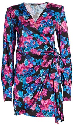Andamane Carly Side-Bow Floral Wrap Dress