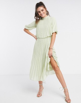 ASOS DESIGN high neck pleated double layer midi dress in chevron dobby in sage green