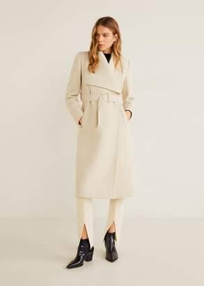 MANGO Wide lapel wool-blend coat light heather grey - XXS - Women