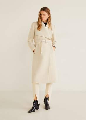 MANGO Wide lapel wool-blend coat sand - XXS - Women