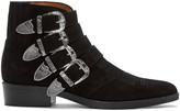 Toga Virilis Black Suede Western Buckle Boots