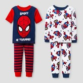 Spiderman Baby Boys' ; Snug Fit 4-Piece Cotton Pajama Set - Red