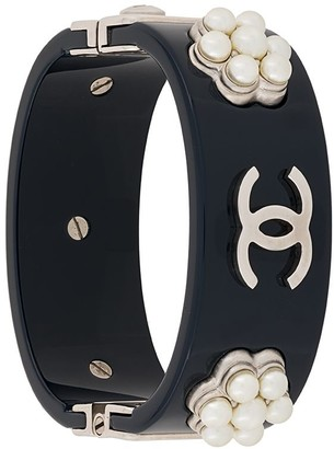 Chanel Pre Owned Pearl Embellished Logo Cuff