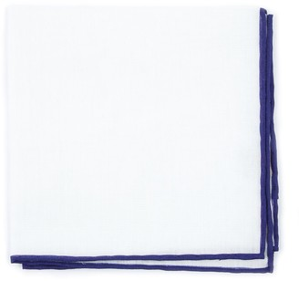 Proenza Schouler The Tie BarThe Tie Bar Deep Eggplant White Linen With Rolled Border Pocket Square