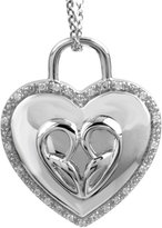 Jessica Simpson Heart Lock Diamond Pendant in Sterling Silver