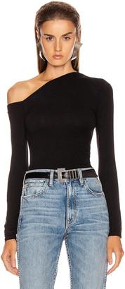 Enza Costa Angled Exposed Shoulder Long Sleeve Top in Black | FWRD