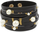 INC International Concepts Gold-Tone Imitation Pearl Leather Wrap Bracelet, Only at Macy's