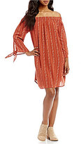 Miss Me Printed Off-The-Shoulder Tie-Sleeve Shift Dress