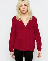 Only Fallow Collarless Shirt In Rio Red