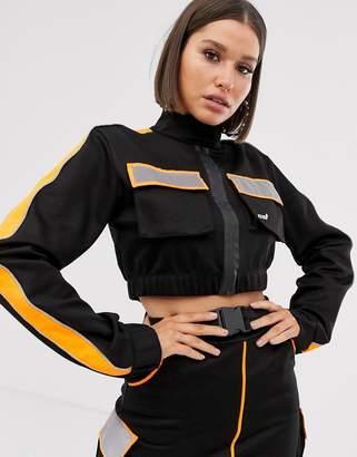 Criminal Damage cropped jacket with reflective panels co-ord-Black