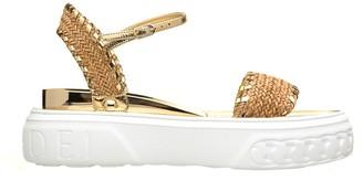 Casadei Gold Woven Sandals