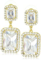 Gold-Tone Modern Square Earrings with Cubic Zirconia 1.5