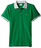Armani Junior Polo with Gray Collar and Sleeve Boy's Clothing