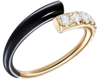 Melissa Kaye Lola 18K Yellow Gold, Diamond & Black Enamel Ring