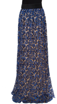 Ungaro Royal Blue Tulle Foliage Embroidered Maxi Skirt L
