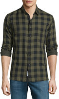 Rag & Bone Beach Check Long-Sleeve Sport Shirt, Olive