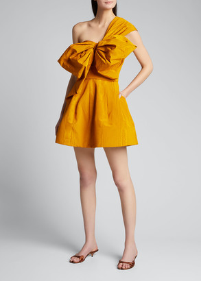 Oscar de la Renta Bowed One-Shoulder Fit-and-Flare Dress