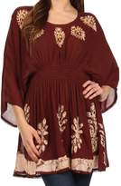 Sakkas 982 Embroidered Batik Gauzy Cotton Tunic Blouse