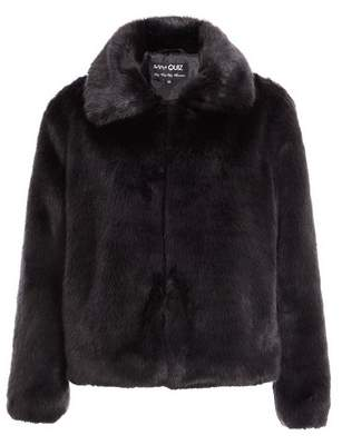 Dorothy Perkins Womens *Quiz Black Faux Fur Collar Coat, Black