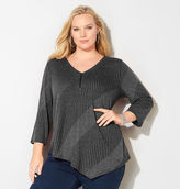 Avenue Mixed Rib Zipper Asymmetrical Top