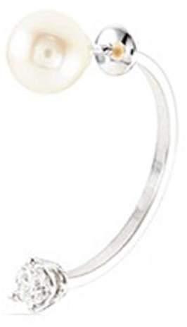 Delfina Delettrez Diamond pearl 18k white gold single earring