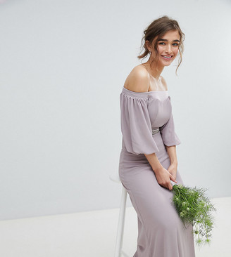 Bardot Tfnc Petite TFNC Petite Maxi Bridesmaid Dress with Sleeve Drama and Embellished Waist-Gray