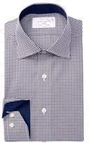 Lorenzo Uomo Long Sleeve Trim Fit Mini Gingham Dress Shirt