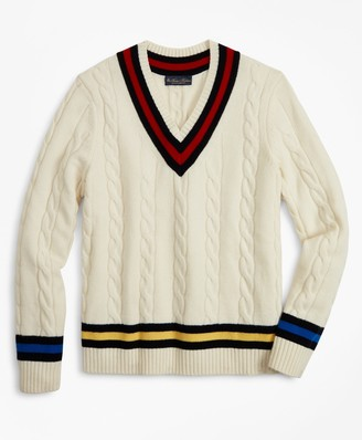 Brooks Brothers Lambswool Tennis V-Neck Sweater