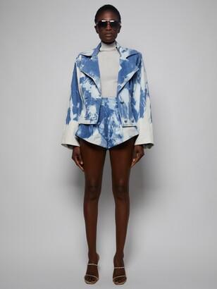 LaQuan Smith Bleached Denim Shorts, Blue