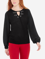The Limited Embellished Mixed Media Sweater