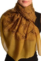 LissKiss Large Floral Printed Lace On Mustard - Scarf