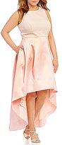 Eliza J Plus Halter Neck Two-Tone Open-Back Hi-Low Dress