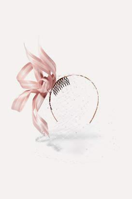 Philip Treacy Crystal-embellished Mesh And Buntal Fascinator - Pink